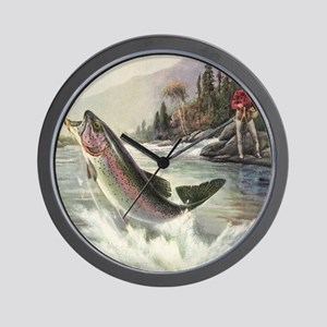 Vintage Fishing, Rainbow Trout Wall Clock