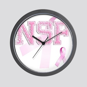 NSF initials, Pink Ribbon, Wall Clock