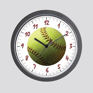 Yellow Softball Wall Clock