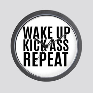Wake Up Kick Ass Repeat Wall Clock