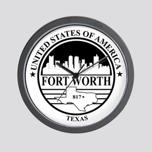 Fort worth logo white and black Wall Clock