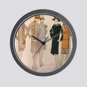 Flapper Autumn Fashion Wall Clock