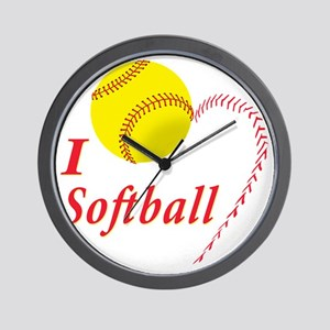 i love softball Wall Clock