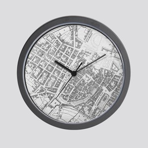 Vintage Map of Stuttgart Germany (1794) Wall Clock