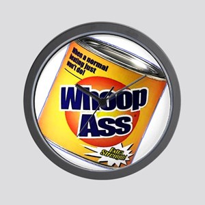 Funny Can Of Whoop Ass Wall Clock