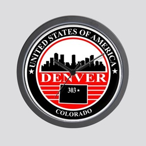 Denver logo black and red Wall Clock