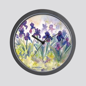 SQ Purp Irises for CP shower curtain Wall Clock