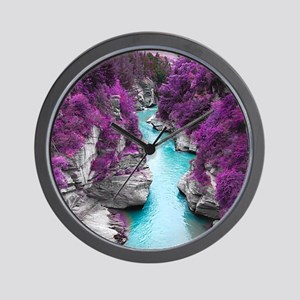 Purple Cliffs Wall Clock