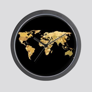 'Gold Foil Map' Wall Clock