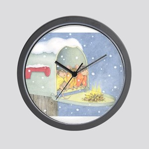 Warm, snowy snuggle Wall Clock