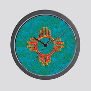 3D TURQUOISE GRUNGE ZIA Wall Clock
