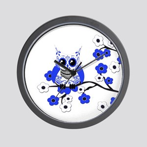 Blue & White Sugar Skull Owl Wall Clock