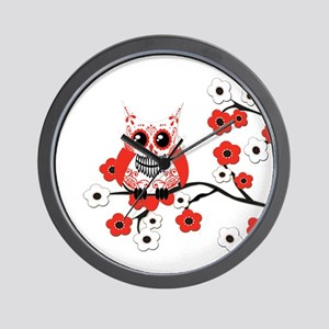 Red & White Sugar Skull Owl i Wall Clock