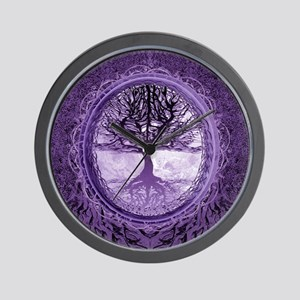 Tree of Life in Purple Wall Clock