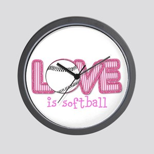 Love is Softball : Pink Wall Clock