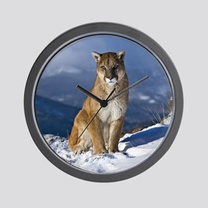 Puma During Winter Wall Clock