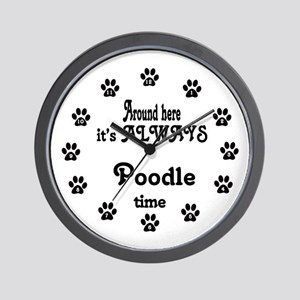 Poodle Time Paw Numbers Wall Clock