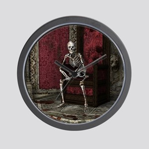 Gothic Waiting Skeleton Wall Clock