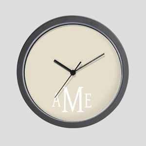 Gray White Traditional Monogram Wall Clock