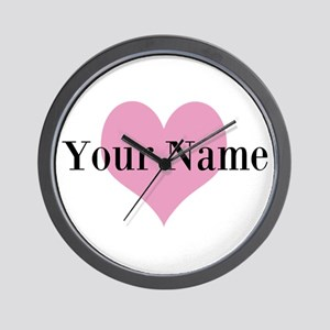 Pink heart and personalized name Wall Clock