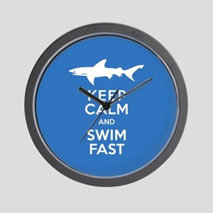 Keep Calm, Swim Fast Shark Alert Wall Clock