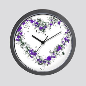 Purple Flower Heart Wall Clock