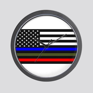 Thin Blue Line Decal - USA Flag Red, Bl Wall Clock