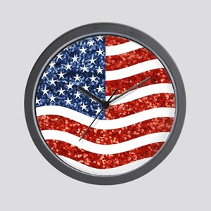 sequin american flag Wall Clock