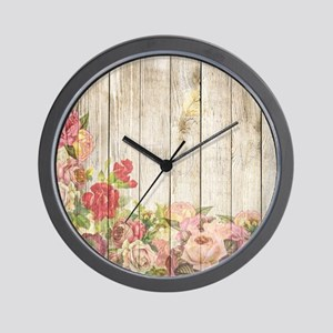Vintage Rustic Roses Wood Wall Clock