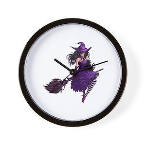 Sexy Purple Halloween Witch Wall Clock