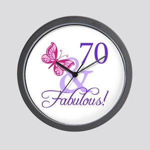 70th Birthday Butterfly Wall Clock