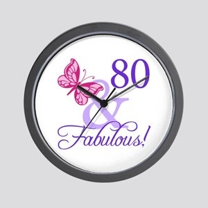 80th Birthday Butterfly Wall Clock
