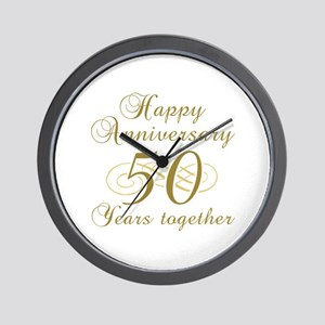 50th Anniversary (Gold Script) Wall Clock