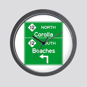 Outer Banks Route 12 Sign Wall Clock
