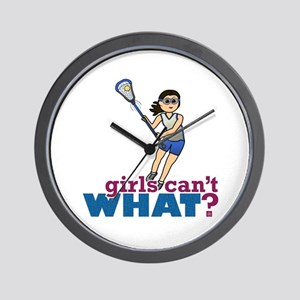 Girl Lacrosse Player in Blue Wall Clock