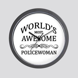 World's Most Awesome Policewoman Wall Clock