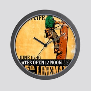 power lineman electrician repairman Wall Clock