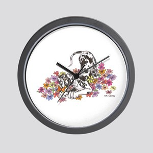 NH Pup In Flowers Wall Clock