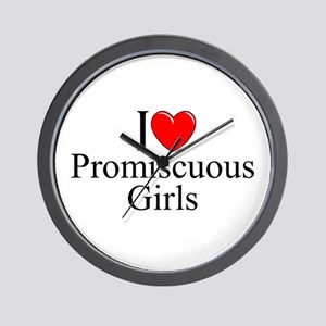 """I Love (Heart) Promiscuous Girls"" Wall Clock"