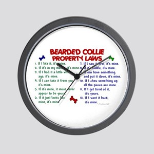 Bearded Collie Property Laws 2 Wall Clock