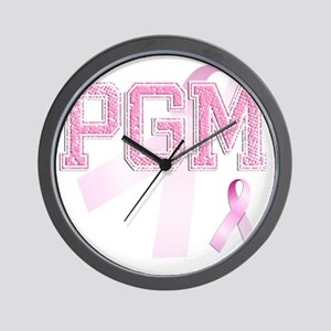 PGM initials, Pink Ribbon, Wall Clock