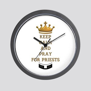 KEEP CALM AND PRAY FOR PRIESTS Wall Clock
