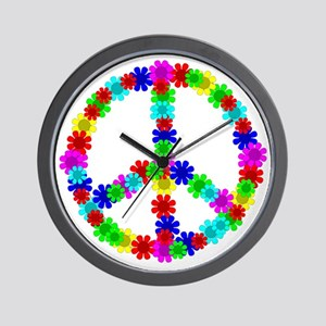 1960's Era Hippie Flower Peace Sign Wall Clock