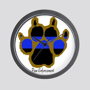 Brown Thin Blue Line Paw Enforcement Wall Clock