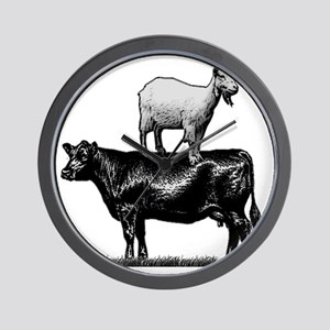 Goat on cow-1 Wall Clock