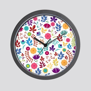 Cute Whimsical Floral Boho Chic Wall Clock