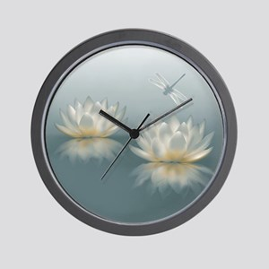 Lotus and Dragonfly Wall Clock
