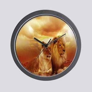 Africa Lion and Lioness Wall Clock