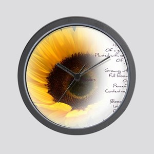 Sunflower Dream Poem Wall Clock