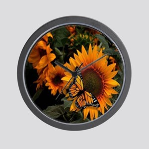 Sunflower Radiance Monarch Butterfly Wall Clock